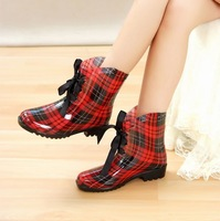 Fashion short butterfly lacing rainboots waterproof overshoes rain boots women's