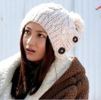 Button twisted knitted hat female ear warm hat
