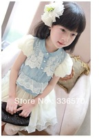 Free shipping ! Spring/summer 2013 new children's /kids cowboy +lace dress princess girls dress suitable fo 90cm-130cm