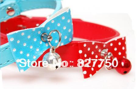 Free Shipping Cute Pet collar PU leather dog collar cat ring bell puppy small dog cat collar Size Small Medium(China (Mainland))