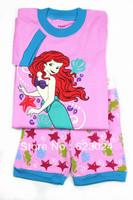 Free shipping wholesale 6sets/lot girl cartoon princess pink short-sleeved cotton pajamas