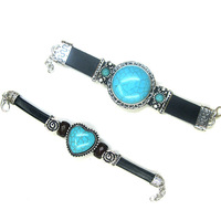 Turquoise quality gem bracelet leather bracelet 2013 fashion female