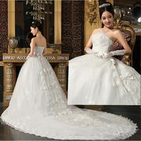 free ship Quality bride big train yarn bow train wedding dress princess lace embroidered wedding dress