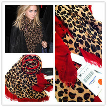 wholesale red leopard print scarf