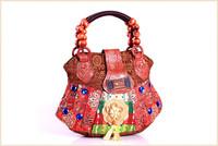 Wholesale Handicrafted Vintage Tote Bag Women Canvas Shoulder Handbags Indian Bag Wooden Bead Handle Tassel Christmas Gift