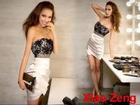 New Fashion 2015  Women Vestido Lady Sexy Lace Dress Rivet Graceful Strapless Casual Dress