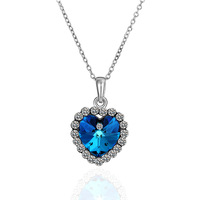Free shipping hot sale fashion jewelry 18K gold plated  crystal necklace imitation sapphire  wedding necklace 18KRGPN482