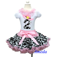 2nd Birthday Light Pink Cowgirl Pettiskirt White Short Sleeves Top Party Dress 1-7Y