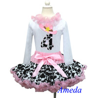 4th Birthday Light Pink Cowgirl Pettiskirt White Long Sleeves Top Party Dress 1-7Y