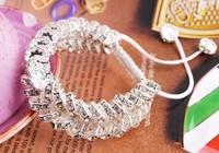 Min.$15 Mixed Order+Free Shipping+Gift.10mm White Disco Ball Bead double Row Fasion Crystal Shamballa Bracelet For Women Men.