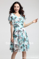 Free shipping 2013 Korean Fashion Chiffon Dress 5 Colors S / M / L / XL / XXL / XXXL