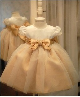 Free Shipping Fashion Korean Style High-grade Noble Flower Girl Dresses Hotsale Girls Ball Gown Champange Tulle Princess Dress