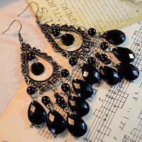 Bohemia earrings national trend accessories black drop earrings