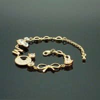The charm of the angel letter fashion sparkling diamond bow bracelet female accessories sl038