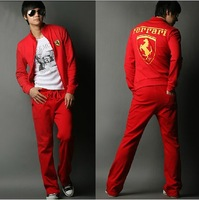 2012 Free shipping hot Autumn and winter new men 's leisure sports suit (jacket + pants),black red sportswear