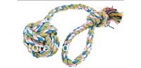 "Dog Puppy Pet Colors Cotton Blends Braided Rope Ball Chew Knot Toy 11.8"" Long"