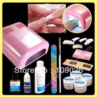 Nail Kit/manicure set + 36W Pink UV dryer Lamp For Nail Art Decoration Free Shipping