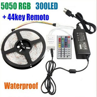 Bright  Quality SMD 5050 300 LEDs/Roll RGB Led Strip Light Waterproof 5M+ 44 keys IR Remote Controller + 12V 7A Power Adapter