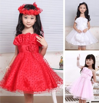 2013 Sale Children Girls Fashion Korean High-grade Noble Flower Girl Dresses Ball Gown Tulle Princess Dress Performance Dress