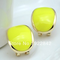 Fashion photchromic oval shape stud earring candy color brief all-match female earring