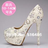 Luxury princess pearl rhinestone wedding shoes ultra high heels crystal pumps bridal party banquet sandals handmade 10/12/14cm