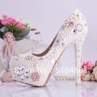 Beatiful princess Pearl rhinestone wedding shoes ultra high heels brida crystal party platform banquet pumps handmade 10/14cm