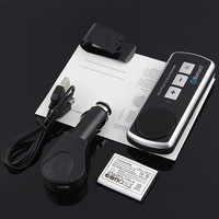 30PCS/lot Dual Portable Handsfree Wireless  Bluetooth Speakerphone Car Kit FM for iphone5 4S Apple Samsung Nokia