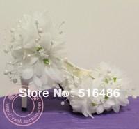 Fashion wedding crystal bridal shoes high-heeled princess pumps pearl flower lace rhinestone round toe shoes handmade 10cm