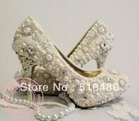 2013 fashion crystal wedding pearl rhinestone shoes  bride high-heeled banquet dinner party thin heels white pumps handmade 10cm
