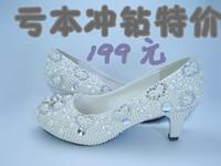 2013 Comfortable crystal pearl thinestone wedding shoes bridal shoes princess party banquet pumps med heel 5 cm handmade