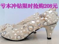 2013 Fashion Platform rhinestone wedding shoes pearl  crystal sparking bridal pumps  women's shoes