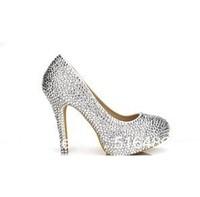 2013 fashon Colorful crystal wedding shoes the bride rhinestone platform banquet high-heeled pearl shoes  princess pumps