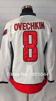 Free Shipping -#8 Alex Ovechkin Men's Authentic Road White Hockey Jersey