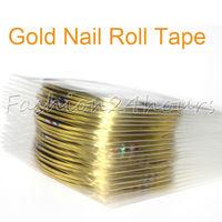 100pcs/lot Gold Nail Rolls Striping Tape Metallic yarn Line Nail Art Decoration Sticker Wholesales