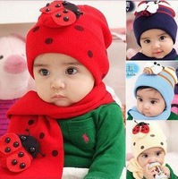 5set/lot free shipping wholesale lovely animal children hat  and scarf baby winter kid Cap  SS0042