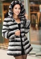 FS806151 Genuine Rex Rabbit Fur Coat Jacket Garment Shawl Chinchilla Color with Hood  Top Long Plus Size Wholesale Retail OEM