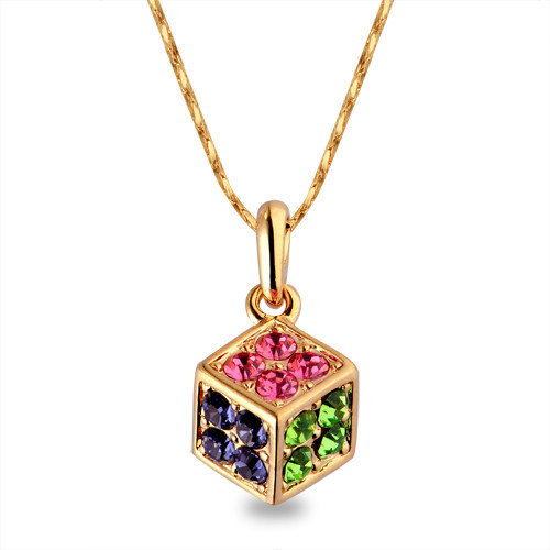 Hh noble elegant crystal necklace female quality gift color gold necklace(China (Mainland))
