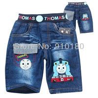 Wholesale 6pcs/lot baby summer boys cartoon tomas train denim shorts kids children fashion jeans