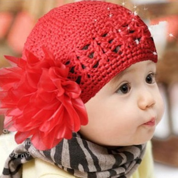 Min order is US8(mixed batch headdress)Princess hair band female child baby flower cutout pocket knitted hat hat pile cap