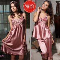 Summer women's solid color spaghetti strap super smooth silk sleepwear silk mulberry silk nightgown set lounge