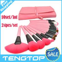 10Set/lot ! Free shipping(DHL) Rofessional 24pcs Makeup Brush Kit Makeup Brushes & tools,Wholesale Make up Brushes Leather Case