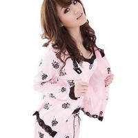 Lovely sleepwear female 100% cotton long-sleeve spring 100% cotton long three piece set lounge