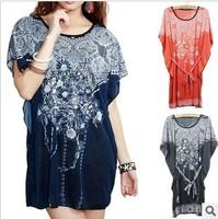 The new Korean version of the bat sleeve Ice silk palace spend big yards women's milk silk sweatshirts T-shirt