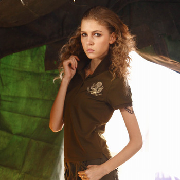 Women's outdoor casual short-sleeve T-shirt basic polo shirt loose sports clothing olive t shirt