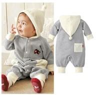 HB154 Free ship baby romper wit cap full sleeve grey strawberry/ kids bodysuits/boy girl jumpsuits/Wholesale Retail Honey Baby