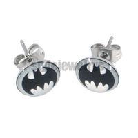 Free shipping! Enamel Batman Earring Body Piercing Jewelry Stainless Steel Jewelry Motor Biker Earring Studs SJE370011