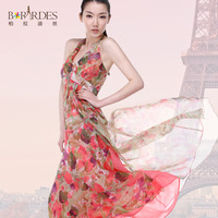2013 summer fashion bohemia silk one-piece dress silk chiffon spaghetti strap full dress
