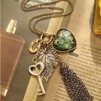 6pcs/lot Ladies Retro Peacock Heart Leaf Key Tassel Necklace Fashion Sweater Chain