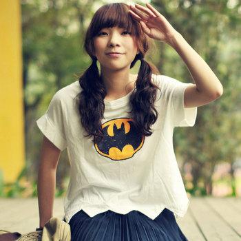 2013 summer batwing short sleeve design all-match t-shirt white short-sleeve shirt cool mushroom women's
