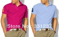Free shipping, 2013hot sell fasion, Mens T Shirt +Men's Short Sleeve T Shirt slim fit ,Polo shirt ,cotton,13colors ,4size